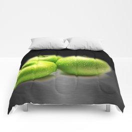 Wet Green Apples on Metallic Background Comforters