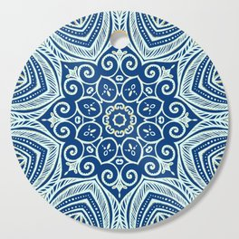 Blue and Gold  flowers pattern Cutting Board
