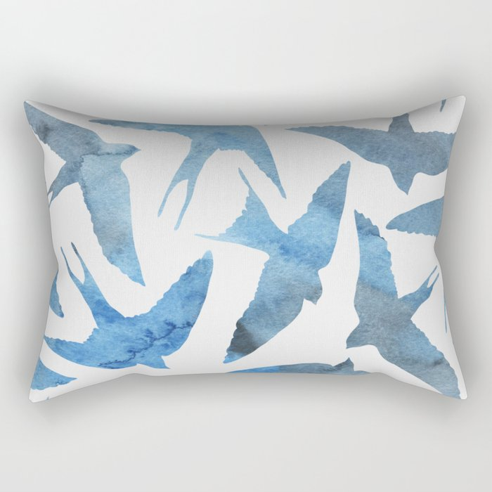 Watercolor blue birds Rectangular Pillow