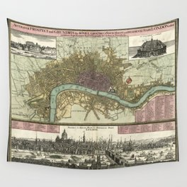 Vintage Map of London England (1740) Wall Tapestry