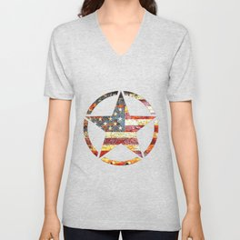 Circled Army Star on top of Rusted American Flag Unisex V-Neck