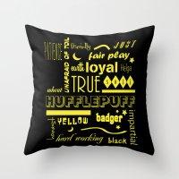 hufflepuff Throw Pillows featuring Hufflepuff by husavendaczek