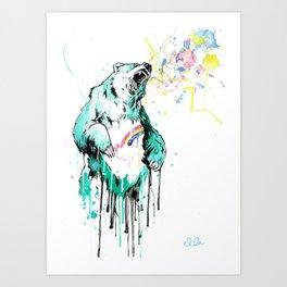 Bashful Bear. Art Print
