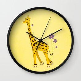 Yellow Funny Roller Skating Giraffe Wall Clock