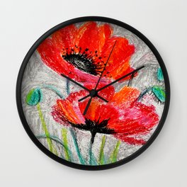 Poppies # 2 Wall Clock