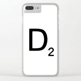 Letter D - Custom Scrabble Letter Wall Art - Scrabble D Clear iPhone Case