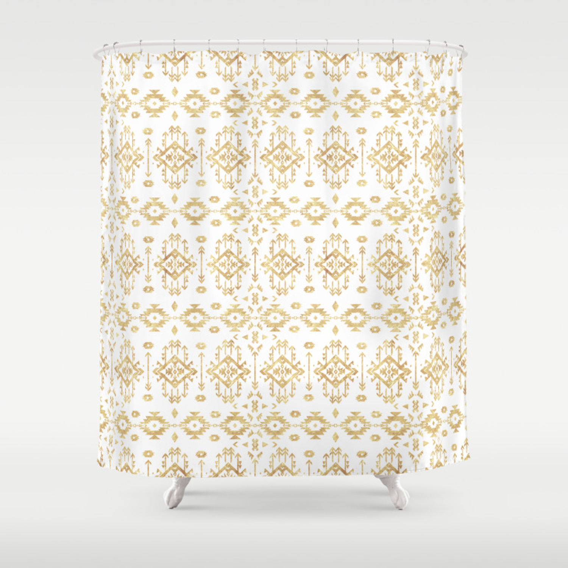 Luxury Gold Geometric Tribal Aztec Pattern Shower Curtain