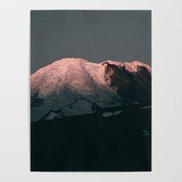 First Light on Mount Rainier Poster