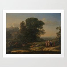 Landscape with Cephalus and Procris reunited by Diana - Claude Art Print