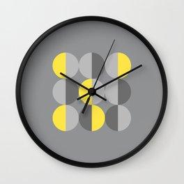 Retro circles Illuminated Yellow, Ultimate Gray Wall Clock