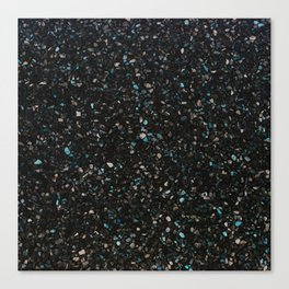 Terrazzo black with turquoise opaque Canvas Print