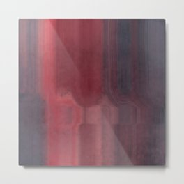 Pink Gray and Red Abstract Watercolor Metal Print