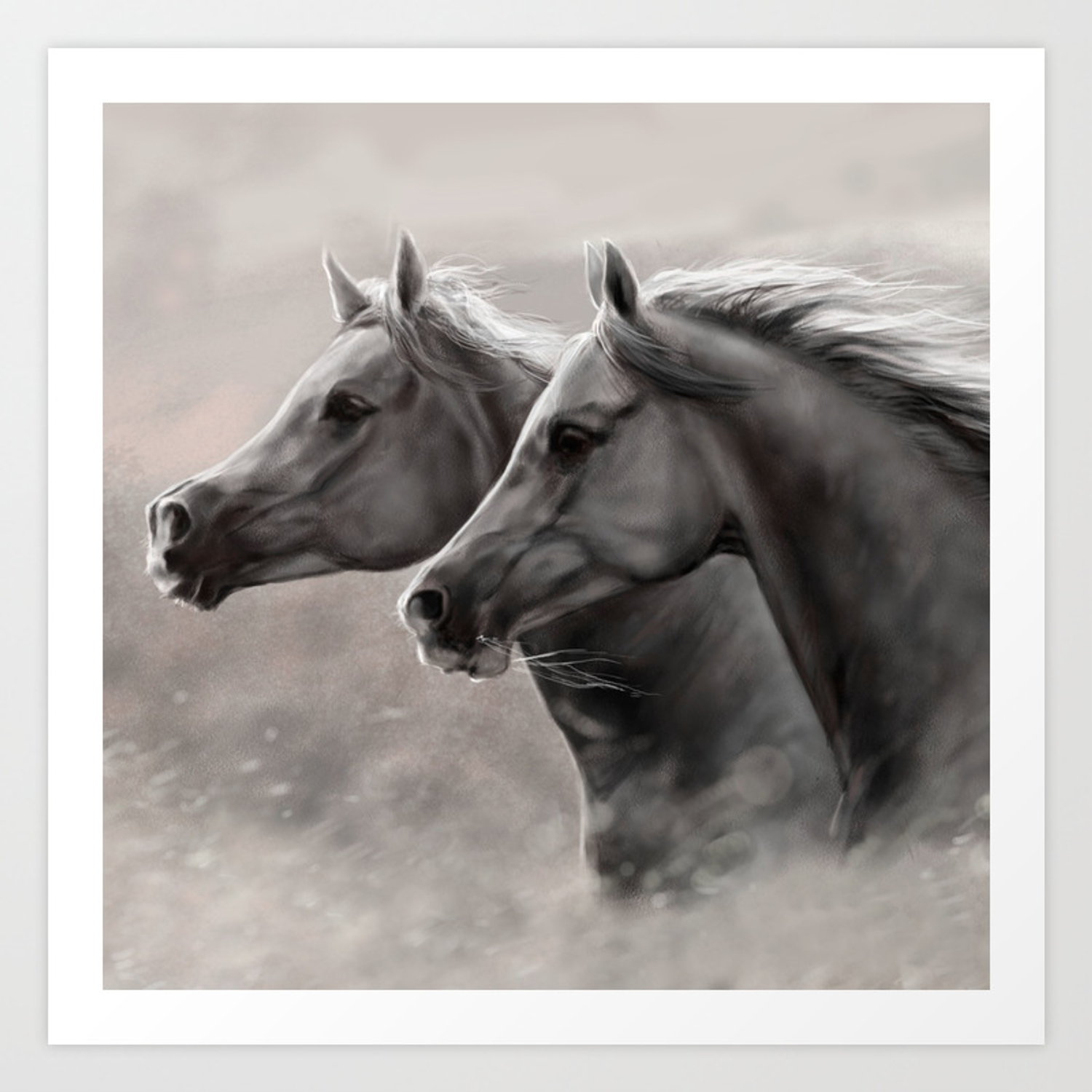 Two Horses Painting Gift Black Stallions Art Print By Marios Society6