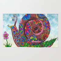 snail Area & Throw Rugs featuring Snail by WelshPixie