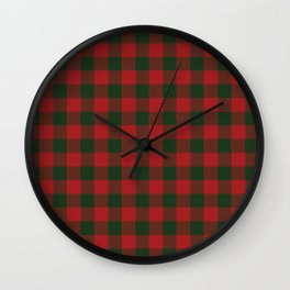 90's Buffalo Check Plaid in Christmas Red and Green Wall Clock