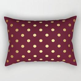 Maroon Gold Polka Dots Rectangular Pillow