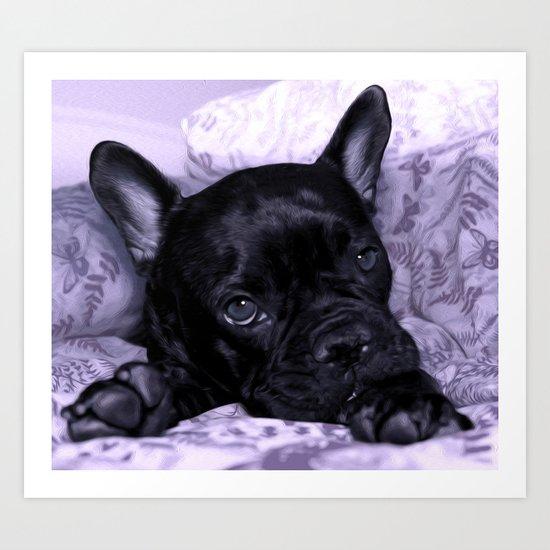 Purple Frenchie Art Print