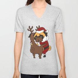 Pug Hugs Christmas Unisex V-Neck