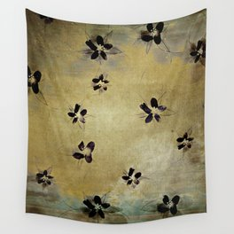 posies on vintage linen Wall Tapestry