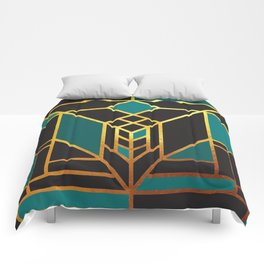 Art Deco Leaving A Puzzle In Turquoise Comforters