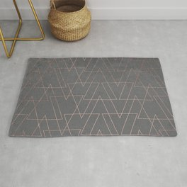 Modern rose gold geometric triangles blush pink abstract pattern on grey cement industrial Rug