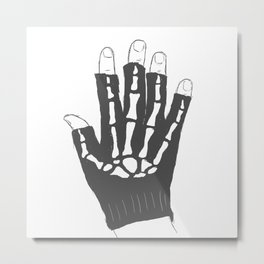 Skeleton Glove Metal Print