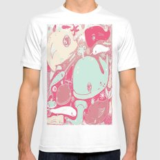 Whales MEDIUM White Mens Fitted Tee