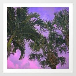 Purple Sky Palms Art Print