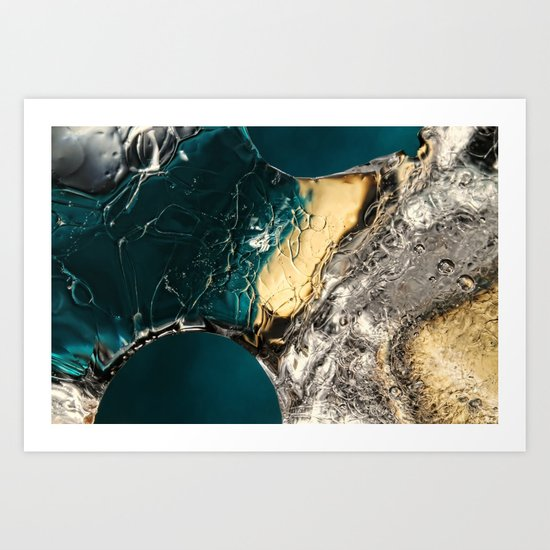 Ice Blue & Gold Art Print