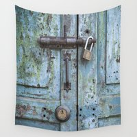 door Wall Tapestries featuring Old Door by Maria Heyens