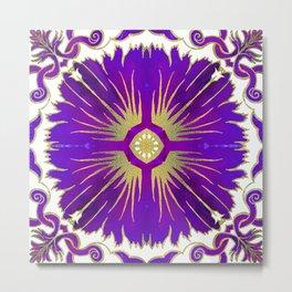 Azulejos - Portuguese Tiles Purple Metal Print