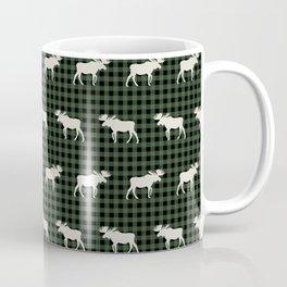 Moose northwest camping cabin chalet pattern plaid hunter green Coffee Mug