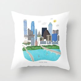Austin Skyline Illustration Throw Pillow