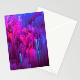 Outrun the Mist - Abstract Pixel Art Stationery Cards