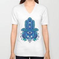 hamsa V-neck T-shirts featuring Hamsa by Miss Chat*Z