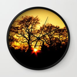 Tree with Sunset Wall Clock