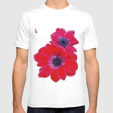 Velvet Red Poppy Anemone I Mens Fitted Tee White MEDIUM