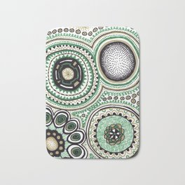 Green and Gold Rings Bath Mat