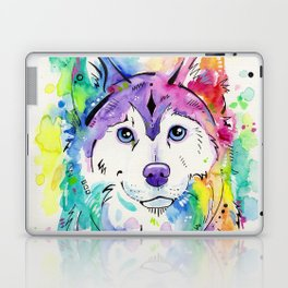 Happy - Siberian Husky Watercolor Art Laptop & iPad Skin