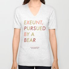 Shakespeare - The Winter's Tale - Exeunt Exit Pursued by a Bear Unisex V-Neck