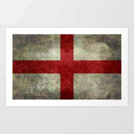 Flag of England (St. George's Cross) - Vintage version to scale Art Print
