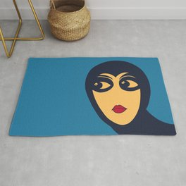 Space woman: are you looking at me? Rug