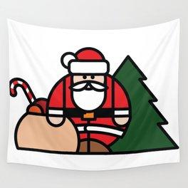 Santa Claus, bag of toys and Christmas tree Wall Tapestry