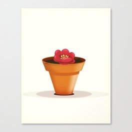 Pretty red flower in a pot Canvas Print