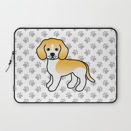 Cute Lemon And White Beagle Dog Cartoon Illustration Laptop Sleeve