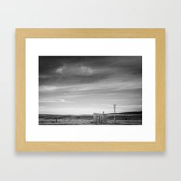 Shelter on the Tekapo to Pukaki Road (Black & White) Framed Art Print
