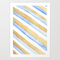 stripe Art Prints featuring Stripe by Louise Kjeldsen