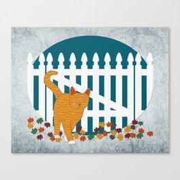 Orange Cat Picket Fence Canvas Print