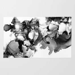 Black & White Abstract Alcohol Ink I Rug