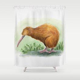 Kiwi - NZ bird watercolor Shower Curtain